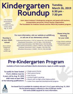 Kindergarten Roundup scheduled for March 26