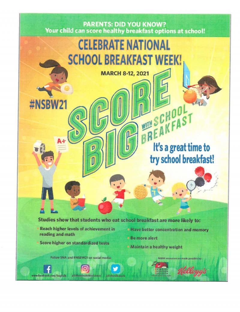Celebrate National School Breakfast Week!  March 8-12, 2021