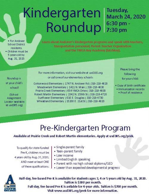 Kindergarten Round Up 2020