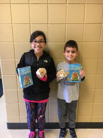 The two student winners from One School, One Book