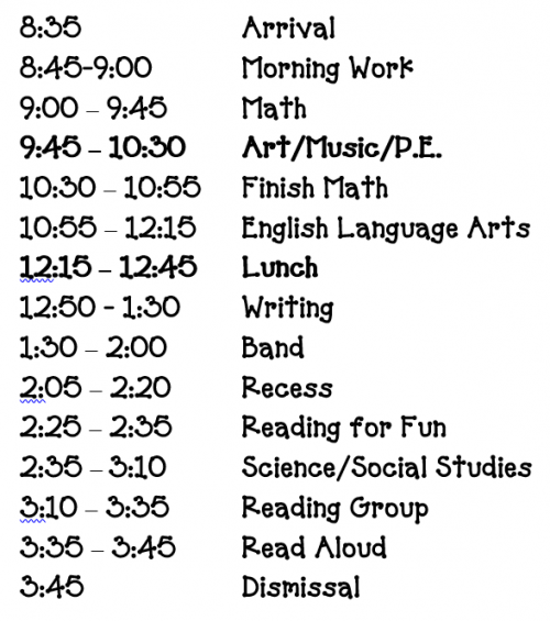 Schedule for Parents Sept. 2021