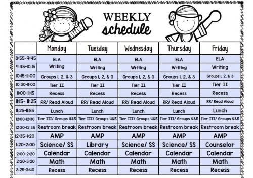 Mrs. Johnson's 2018/2019 class schedule