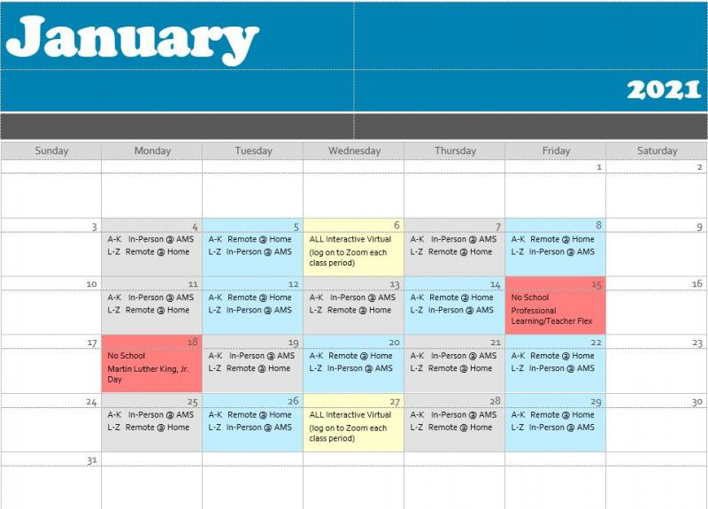 ALTERNATE SCHEDULES FOR JANUARY 11-22