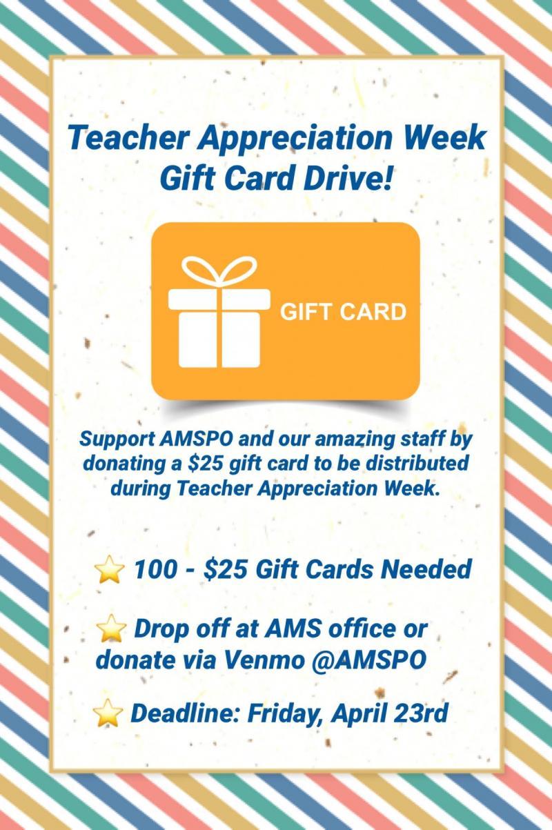 TEACHER APPRECIATION WEEK GIFT CARD DRIVE