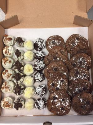 Premium Cake Ball Assortment and Double Chocolate Chip Cookies