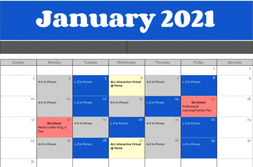 Calendarof A/B Day adjustments for the month of January