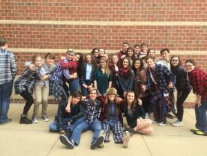 ACHS Choir Students having SPIRIT on Flannel Day