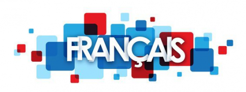 the word francais in white letters surrounded by blue and red squares