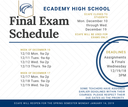 Fall 2018 Finals Schedule