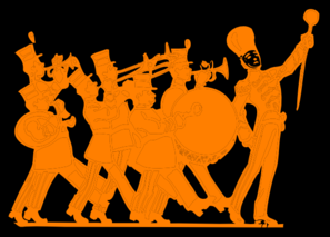 image of marching band members playing instruments