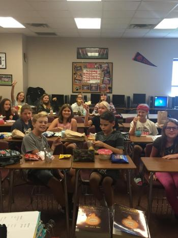 6th Grade Home Room Lunch in the room