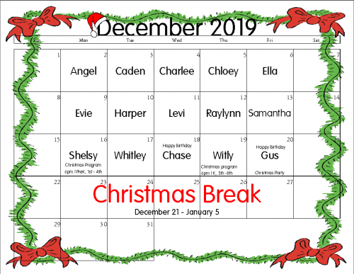 December Snack Calendar