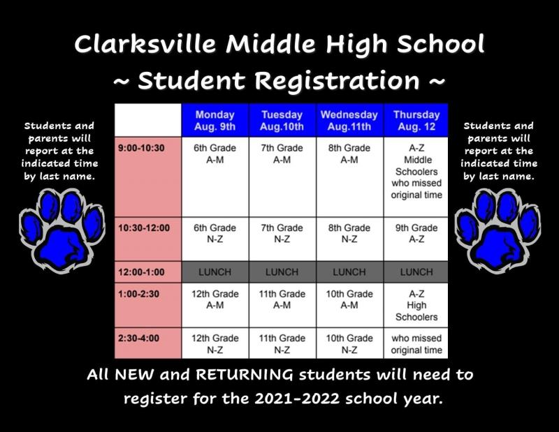 Clarksville Middle High School Registration