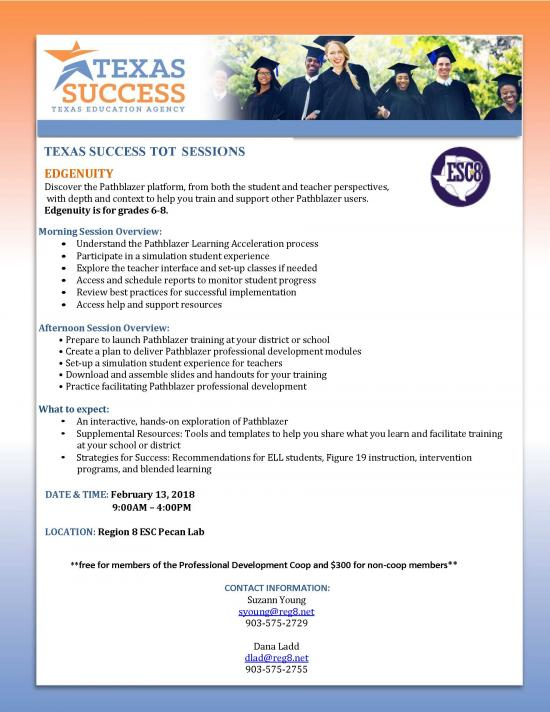 Texas Success TOT Session: Edgenuity. February 13th.