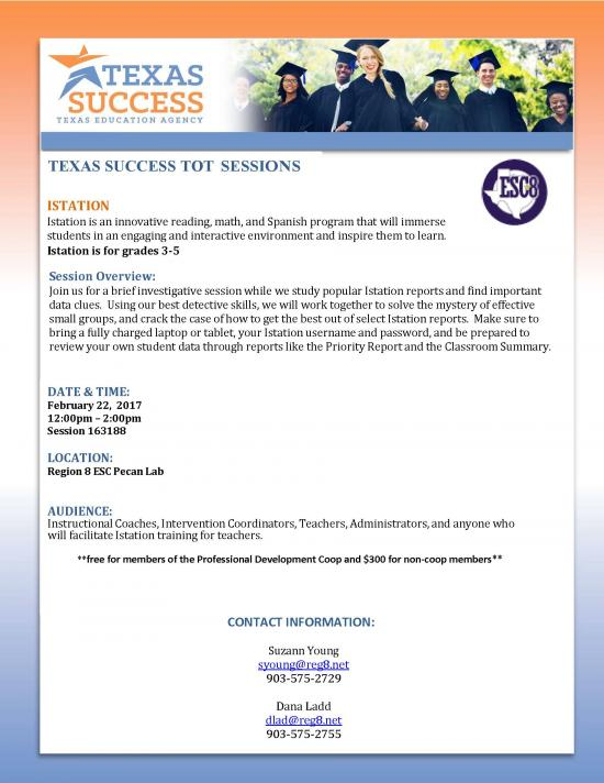 Texas Success TOT Afternoon Session: Istation. February 22nd.