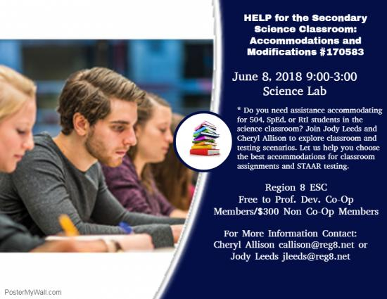 HELP For The Secondary Science Classroom: Accommodations and Modifications - June 8th