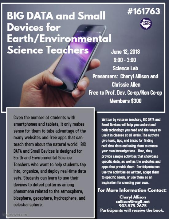 BIG DATA and Small Devices for Earth/Environmental Science Teachers - June 12th