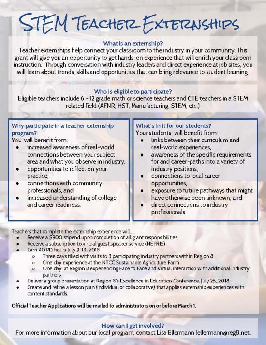 STEM Teacher Externships: Please read flyer for more information!