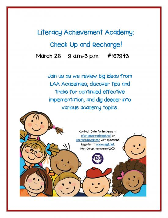 Literacy Achievement Academy: Check Up and Recharge! March 28th