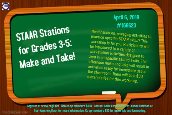 STAAR Stations For Grades 3-5: Make And Take!
