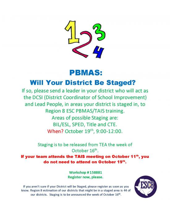 PBMAS: Will Your District Be Staged?