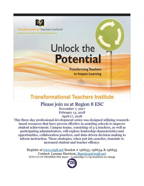Unlock the Potential: Transforming Teachers to Impact Learning