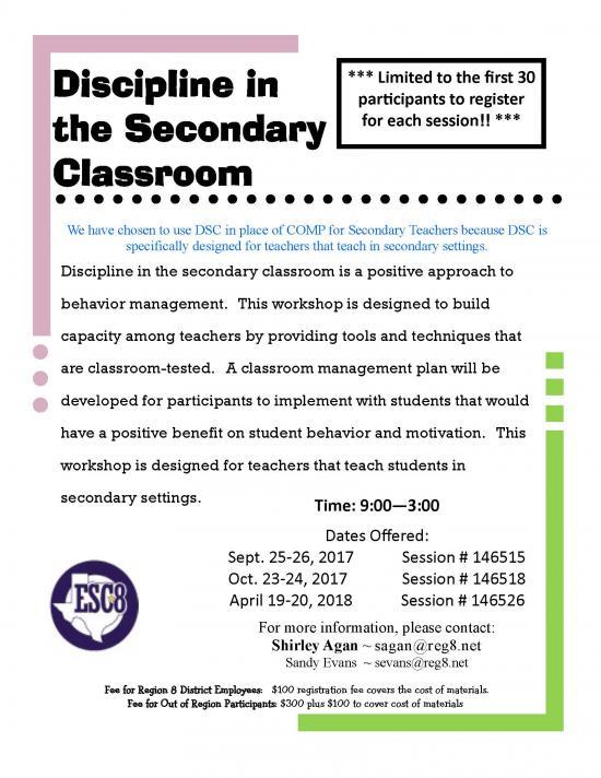 Discipline in the Secondary Classroom - April 19-20