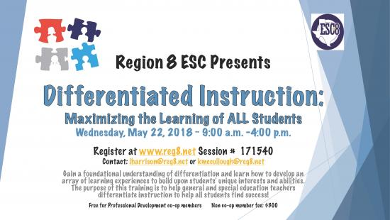 Differentiated Instruction: Maximizing the Learning of ALL Students - May 22nd