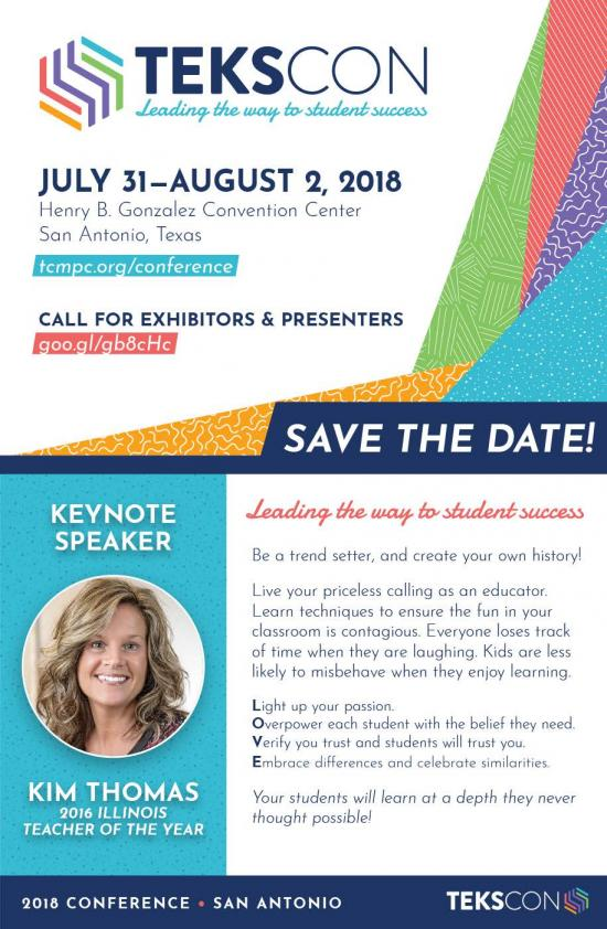 TEKS Resource System Conference July 31 - August 2, 2018. San Antonio!