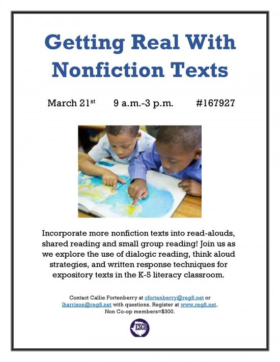 Getting Real With Nonfiction Texts - March 21st
