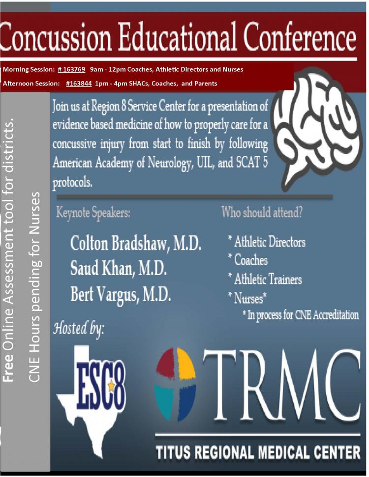 Concussion Educational Conference. February 21st. Free for Districts.