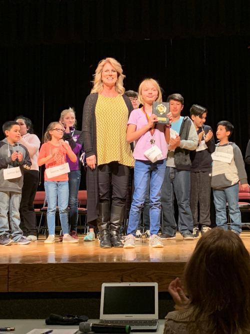 Hannah White 2019 Spelling Bee Winner & Mrs. Novack