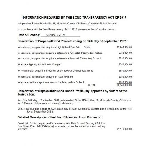 Information Required By The Bond Transparency Act of 2017
