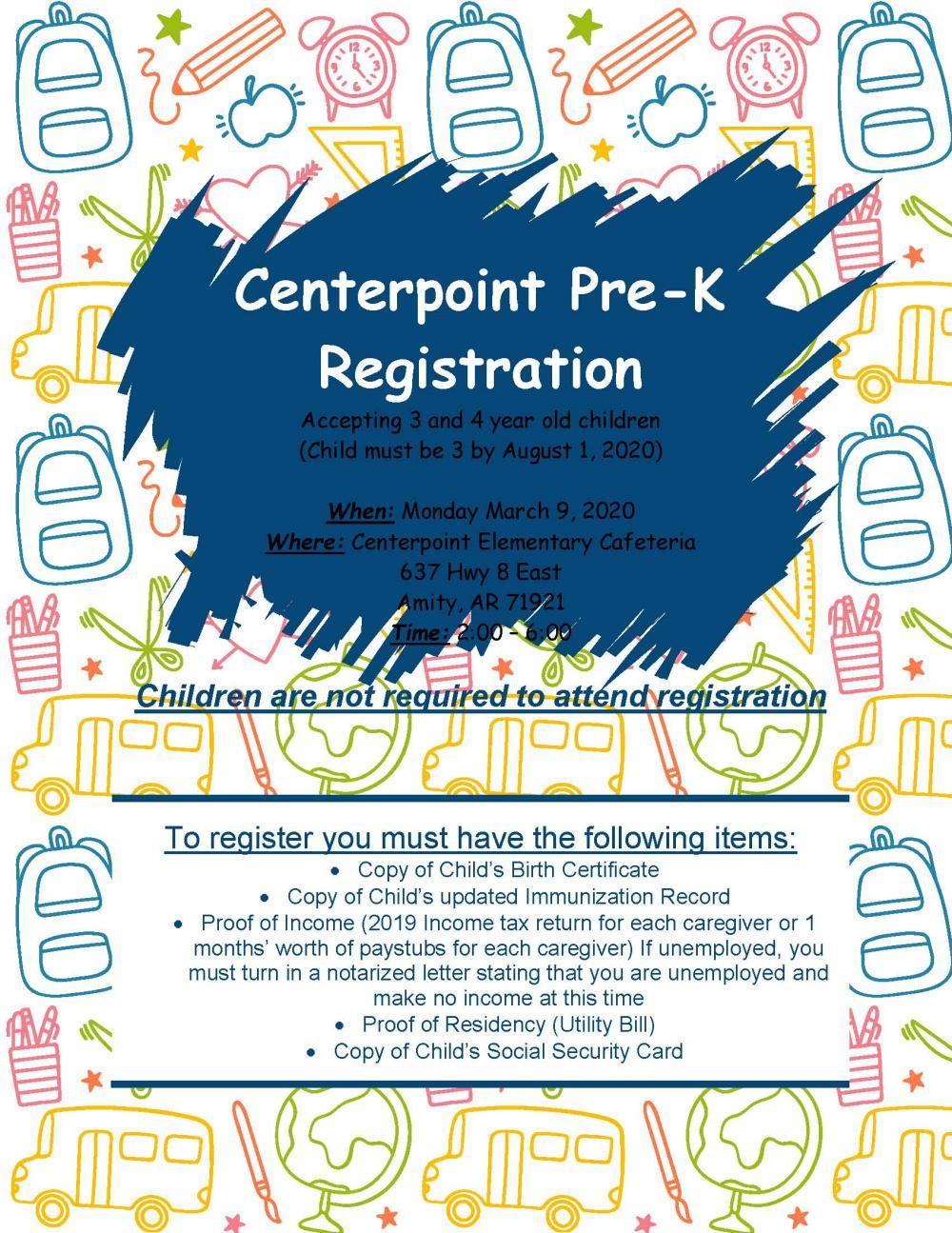 Centerpoint Pre-K Registration Flyer
