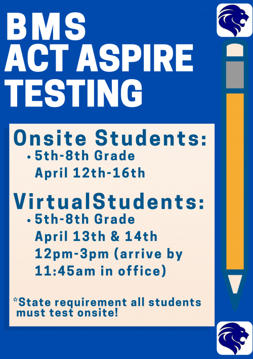 BMS ACT Aspire Spring Testing Schedule 2021