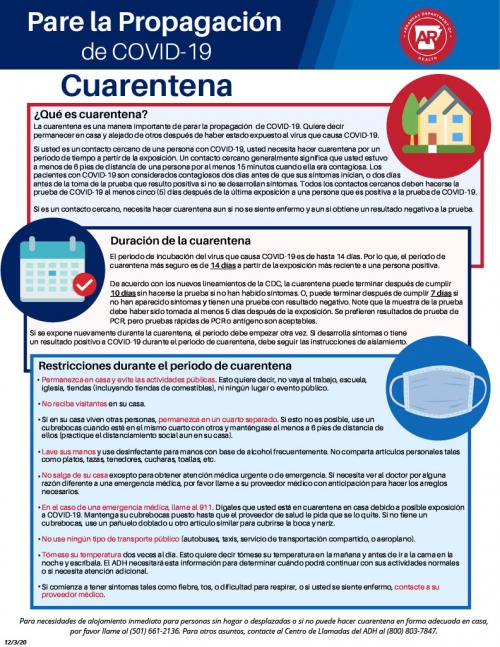 covid quarantine info spanish
