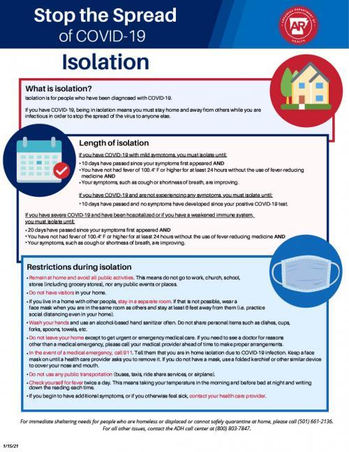 covid isolation info