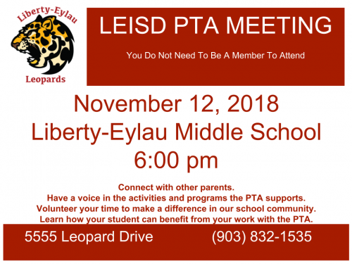 LEISD PTA Meeting November 12, 2018