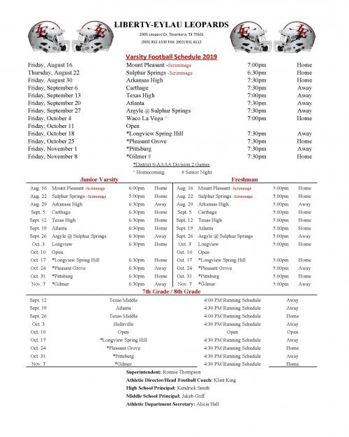 2019 Composite Football Schedule