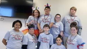 Yakoke Chahta Nation for our T-Shirts for Red Ribbon Week! - Back Row - Isabella Gray, Noah Schrand, Gracie Bias, Matthew Gifford, - Front Row - Jae Cole, Ms Janet Long (Facilitator), Thomas Black, Gabby Boaz, Justus Kegley