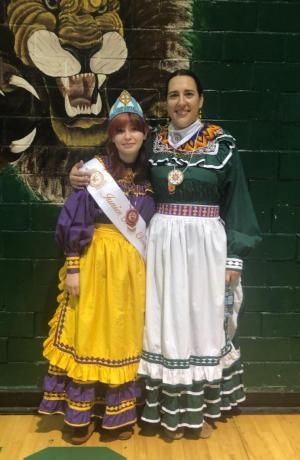 2018 - Tristen Sargent with Choctaw Language Teacher/Dancer - Chantelle Standefer
