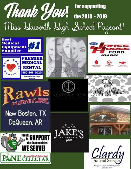 Appreciation Ads for Miss Haworth Pageant