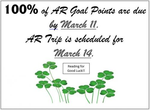 100% of AR Points are Due March 11, AR Trip will be March 14th.