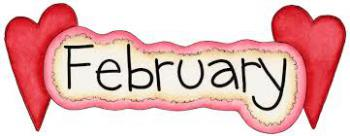 Image of word February with hearts