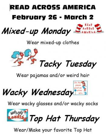 Reading Across America Day Information and Daily Dress Schedule