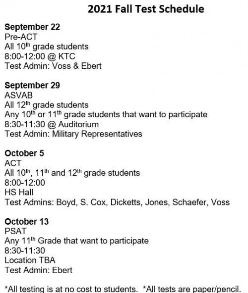 2021 Fall Testing Schedule