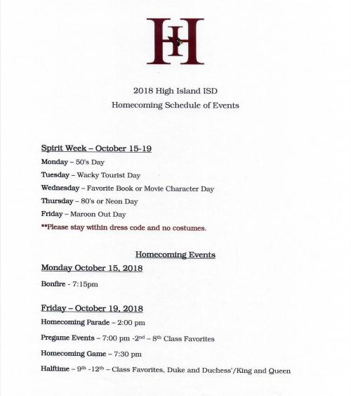 Homecoming 2018 Schedule