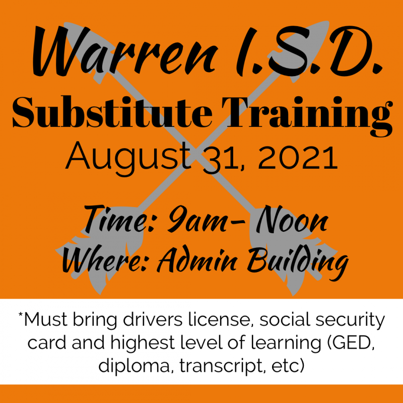 Substitute Training Scheduled for August 31, 2021