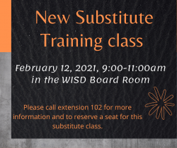 Substitute training scheduled February 12, 2021