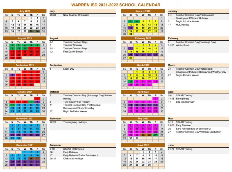 Warren ISD 2021-2022 School Calendar